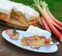 Ciasto rabarbarowe na kruchym spodzie z bezą orzechową - dobry przepis